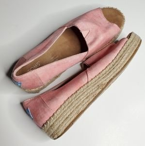 Toms    Pink Espadrilles Peep Toe